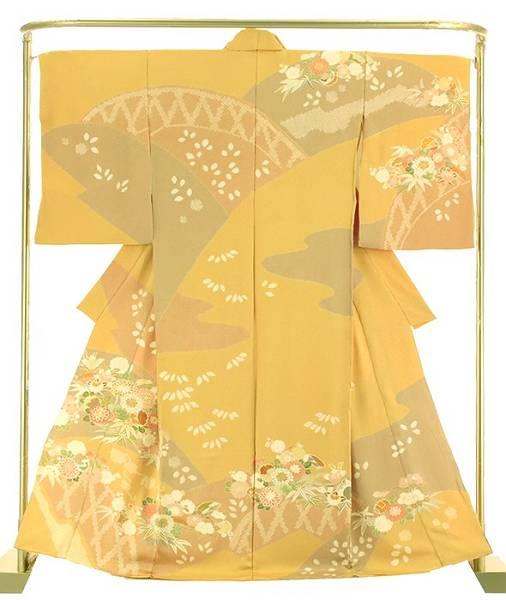正絹桶絞り訪問着 花に垣文 結婚式 卒業式 フォーマル 和装 着物