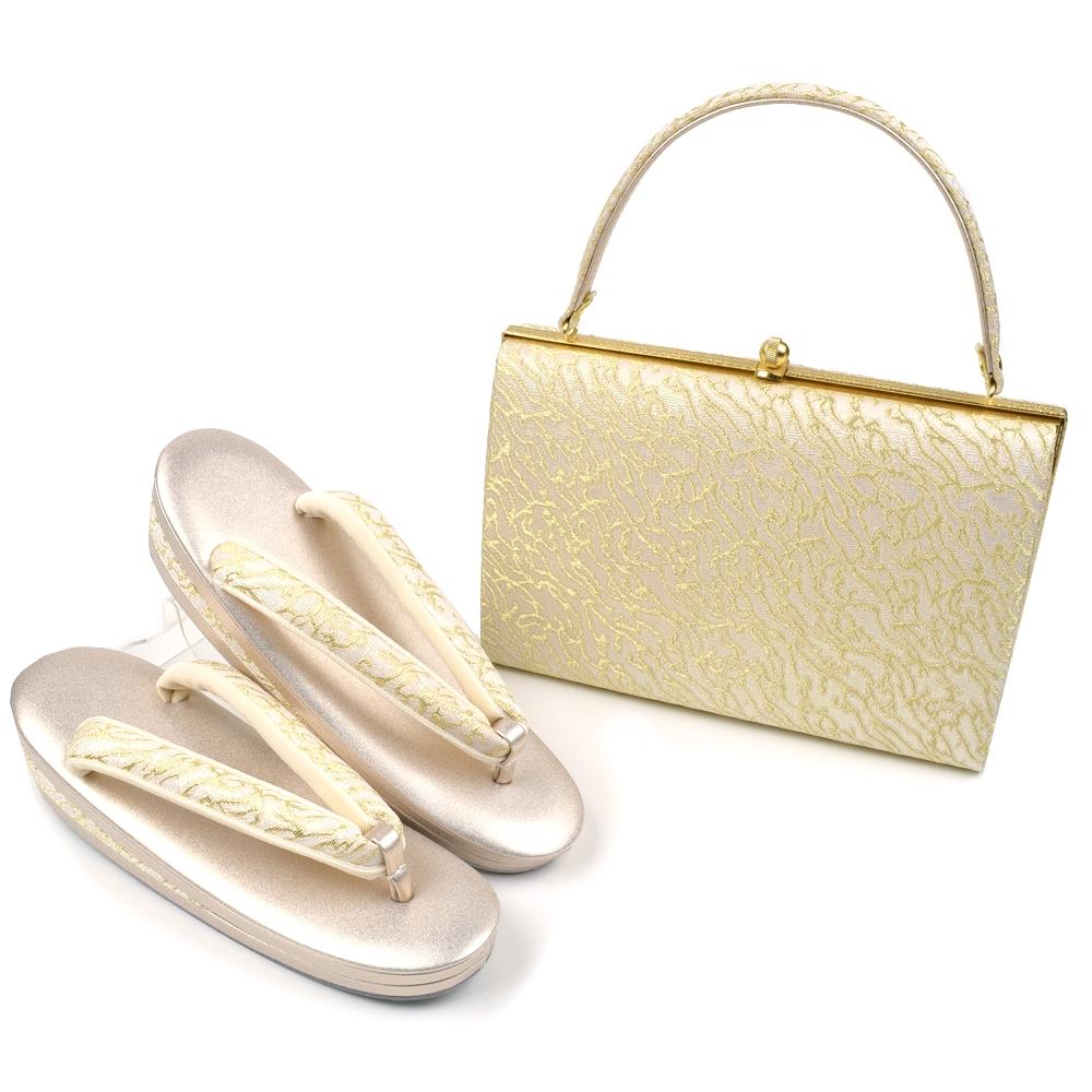 草履バッグセット ローブデコルテF ゴールド S M L LL 3L 5サイズ 礼装用 留袖用 黒留袖 結婚式 卒業式 フォーマル
