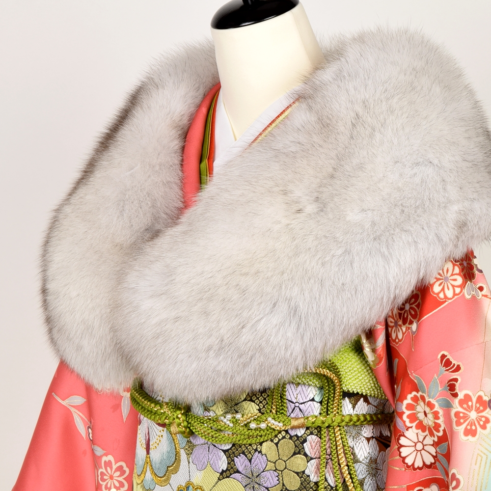 ブルーフォックス SAGA FURS 振袖 ショール 日本製 着物 浴衣 着付け小物 和装 フェザーショール ファーショール 成人式 白 グレー