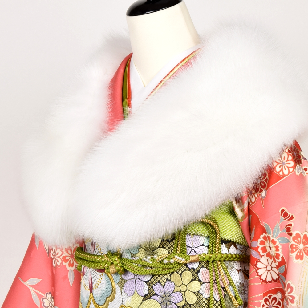 日本製 シャドーフォックス SAGA FURS 振袖用 ファーショール 着物 浴衣 着付け小物 和装 フェザーショール ファーショール 成人式 白
