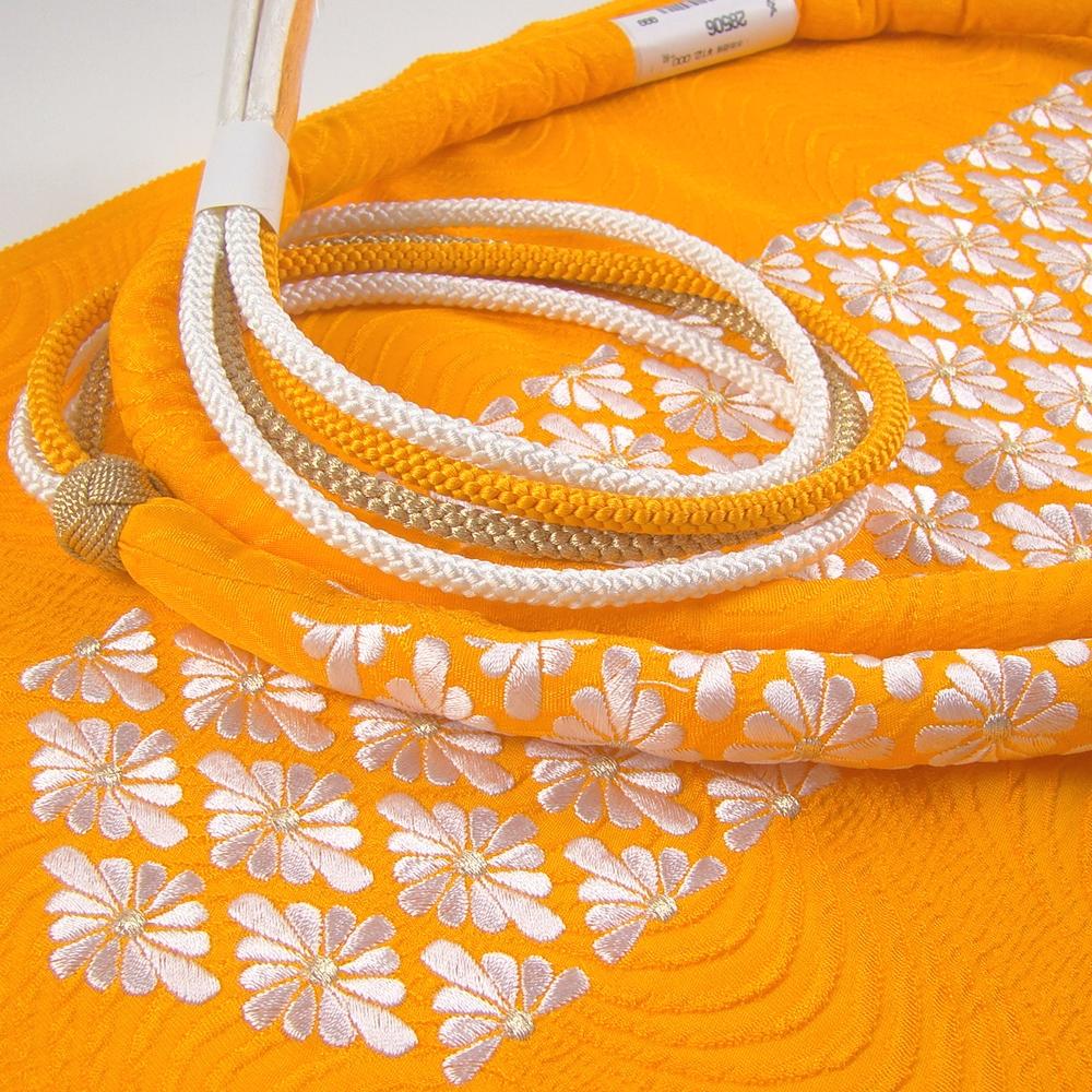 calla 菊菱刺繍帯締め帯揚げセット オレンジ 総絞り 成人式 オレンジ
