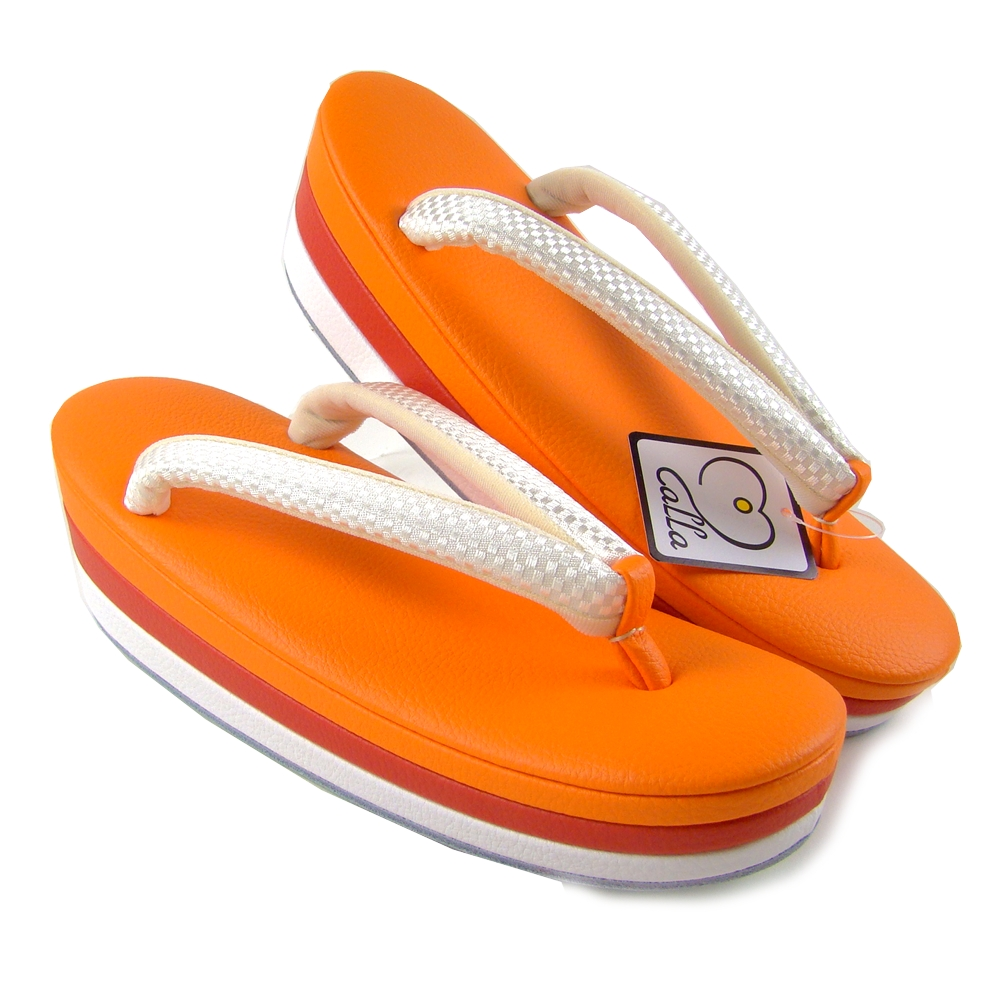 d62cb028f76d Rakuichi-Kimono  calla three pieces core sandals orange orange ...