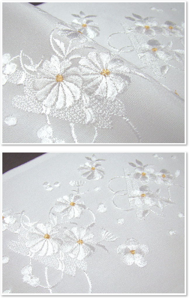 79 Yen OFF half-embroidered collar (Han-ERI), white and gold flower on scroll wedding ceremonies graduation ceremony entrance ceremony formal tomesode for black tomesode color tomesode embroidery Han-ERI review stated.