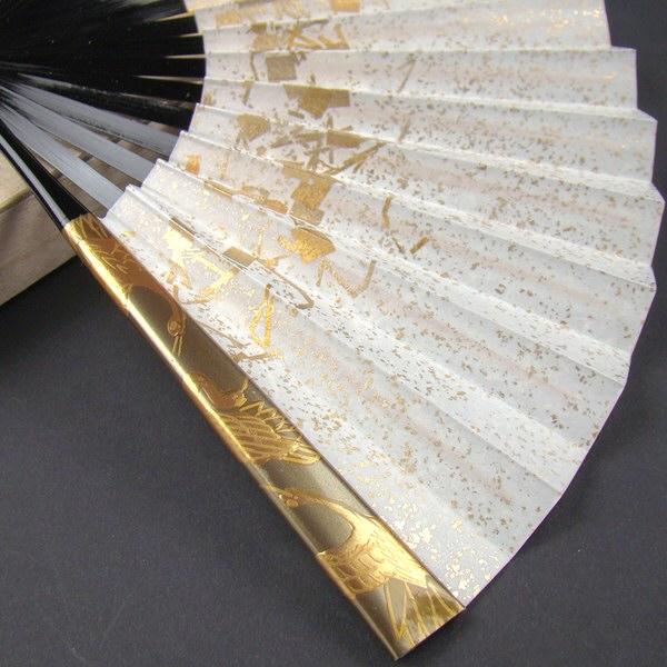 礼装用 金彩蒔絵扇子 三羽鶴 末広 留袖用 黒留袖 結婚式 フォーマル