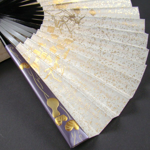 礼装用 金彩蒔絵扇子 瓢箪 末広 留袖用 黒留袖 結婚式 フォーマル 紫