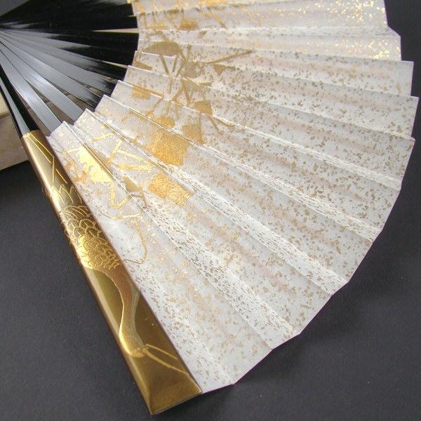 礼装用 金彩蒔絵扇子 鶴 末広 留袖用 黒留袖 結婚式 フォーマル 金
