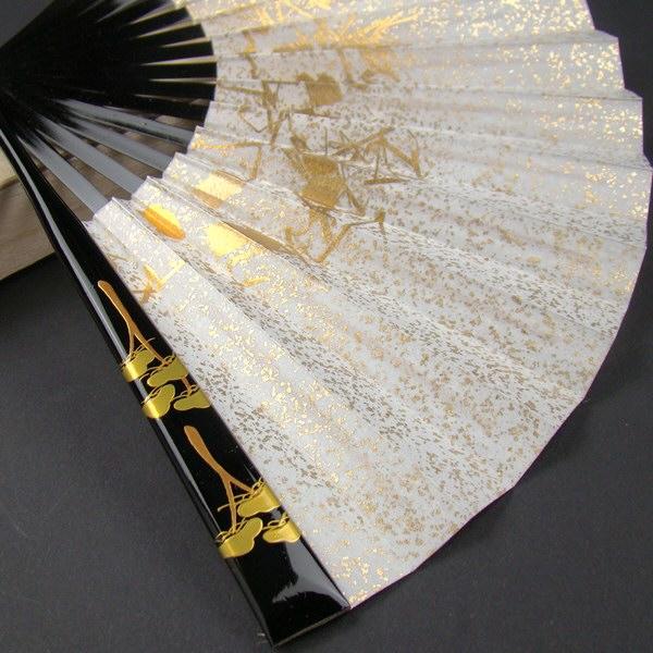 礼装用 蒔絵扇子 老松 末広 留袖用 黒留袖 結婚式 フォーマル 黒