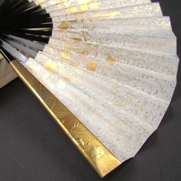 礼装用 金彩蒔絵扇子 流水に梅 末広 留袖用 黒留袖 結婚式 フォーマル 金