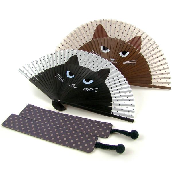 扇子 女性用 猫ミーニャ(扇子袋付き)   母の日 ギフト レディース プレゼント 名入れ可 ねこ ネコ