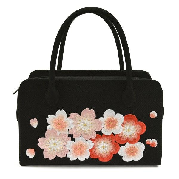 正絹 和装バッグ ちりめん刺繍 さくら 黒 利休バッグ 振袖用 成人式