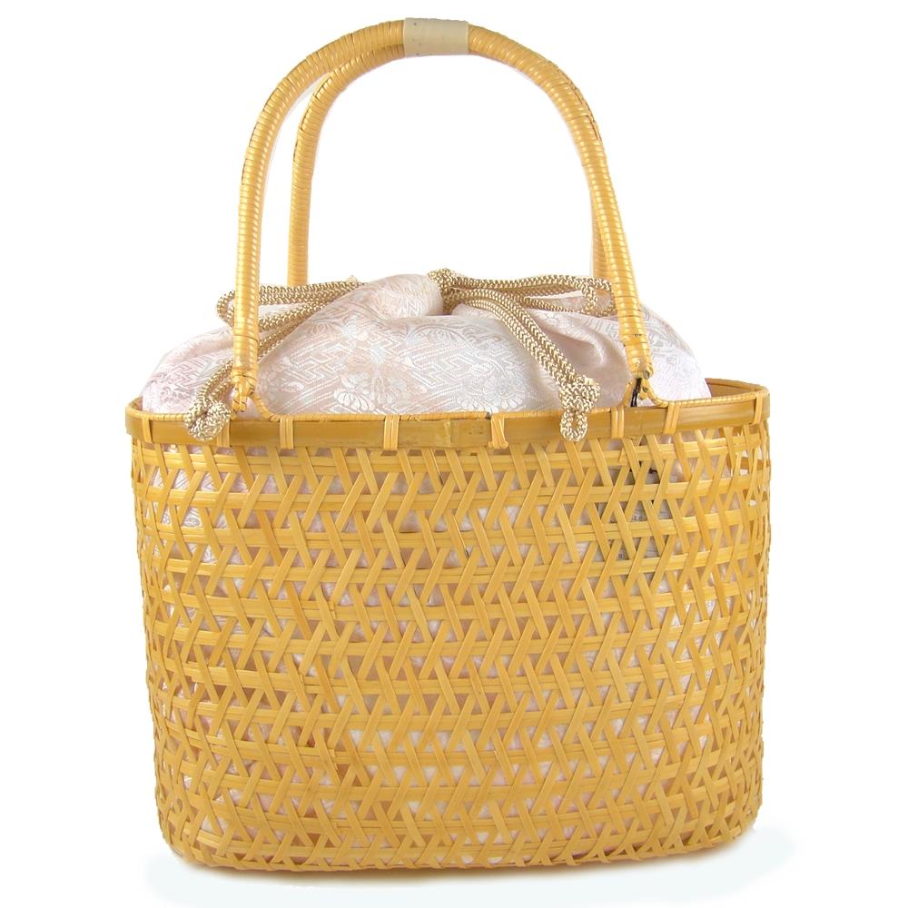 竹かご巾着バッグ 小花/ピンク 浴衣 かごバッグ かご巾着