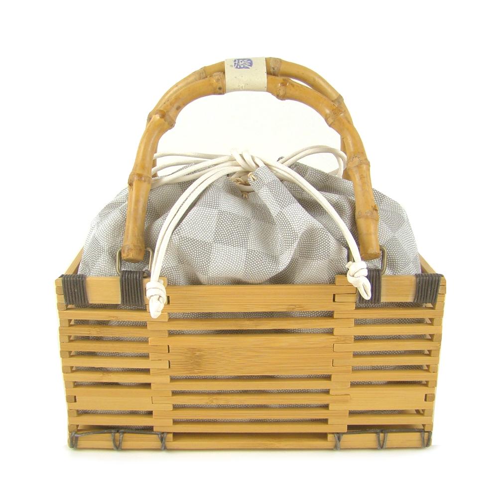 竹かご巾着バッグ 市松/グレー 浴衣 かごバッグ かご巾着