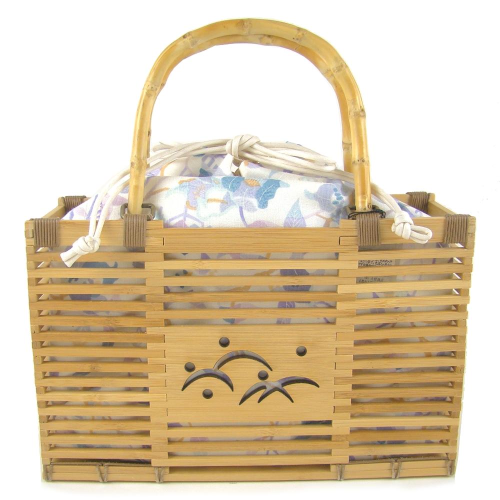竹かご巾着バッグ 露芝 花模様/ブルー系 浴衣 かごバッグ かご巾着