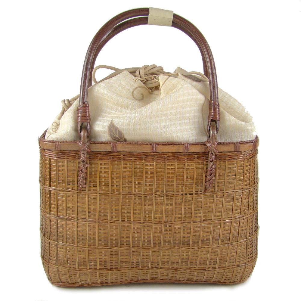 かご巾着 浴衣 木の葉/ベージュ かごバッグ 竹かご巾着バッグ