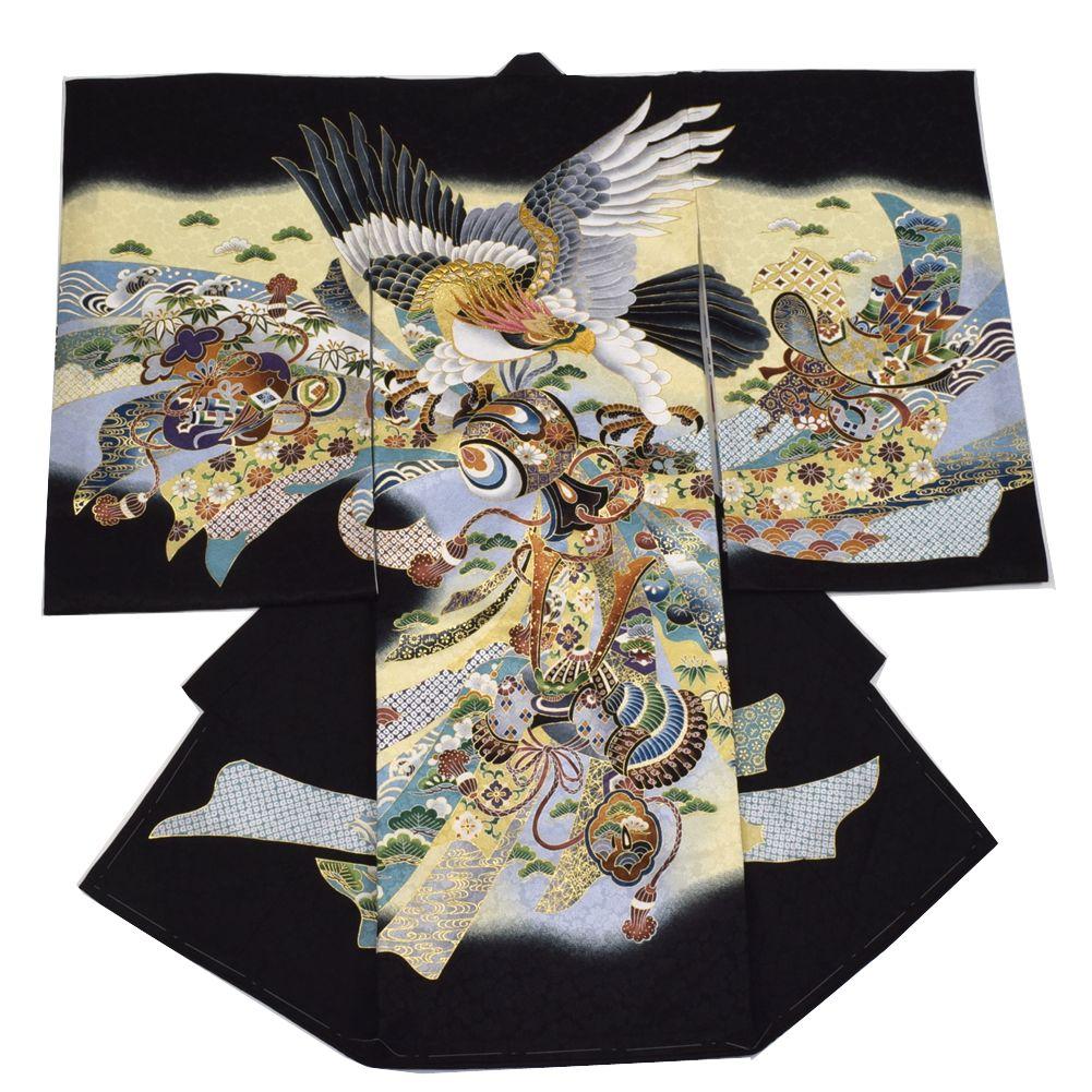 【送料無料】吉祥柄でお祝いにぴったり お宮参り 着物 男の子 正絹のしめ 初着 鷹に熨斗 黒