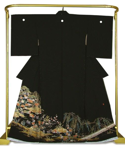 正絹金彩友禅黒留袖 おしどり柳橋文 結婚式 卒業式 フォーマル 和装 着物
