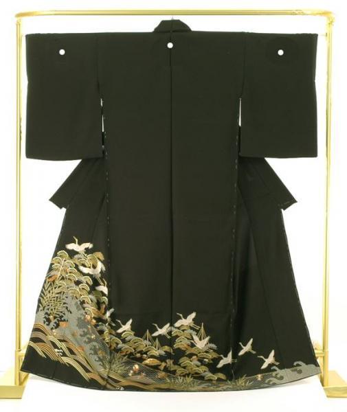 正絹 創作黒留袖 飛び鶴に宝尽くし文 結婚式 卒業式 フォーマル 和装 着物