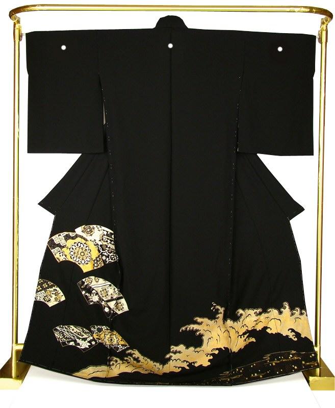 正絹金彩黒留袖 地紙に正倉院文様 結婚式 卒業式 フォーマル 和装 着物