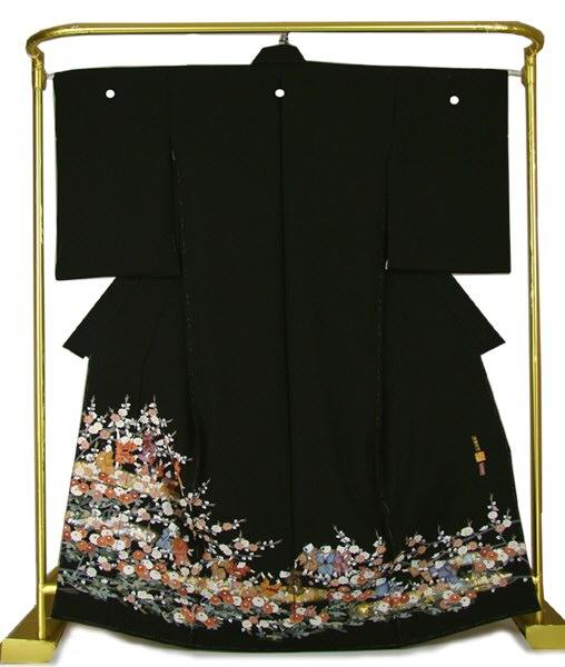 正絹 京友禅黒留袖 花わらべ 結婚式 卒業式 フォーマル 和装 着物