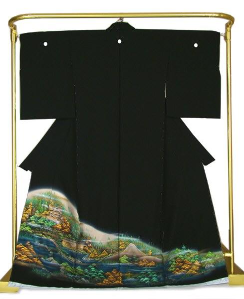 正絹 手描き黒留袖 蝋彩古城 結婚式 卒業式 フォーマル 和装 着物