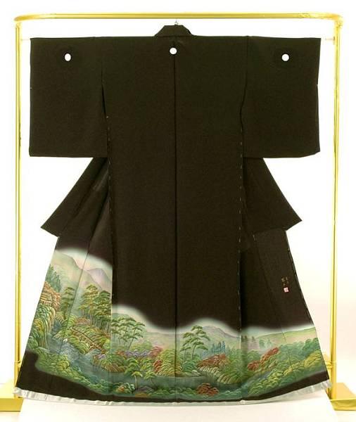 正絹蝋彩染黒留袖 富士の里 憲山 作 結婚式 卒業式 フォーマル 和装 着物