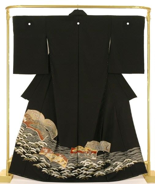 正絹京友禅黒留袖 松波に冊子文 結婚式 卒業式 フォーマル 和装 着物