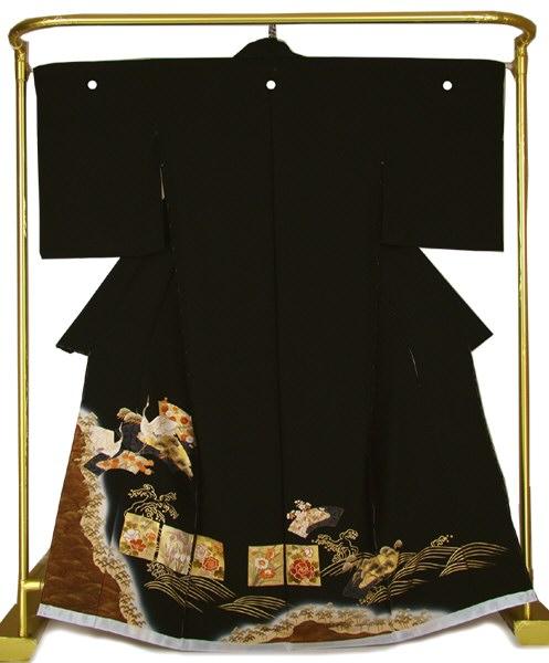 正絹金彩黒留袖 琳派色紙文に鶴 結婚式 卒業式 フォーマル 和装 着物