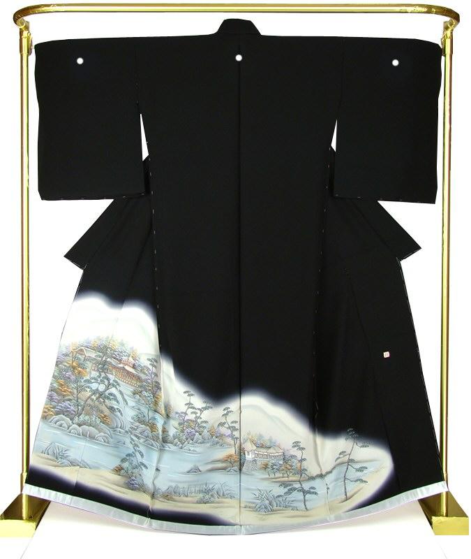 正絹京染黒留袖 蝋彩・泰平閣 結婚式 卒業式 フォーマル 和装 着物