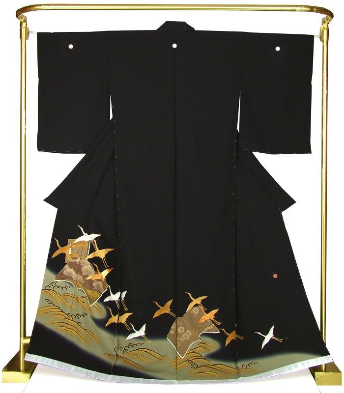 正絹京友禅黒留袖 冊子に飛び鶴文 結婚式 卒業式 フォーマル 和装 着物