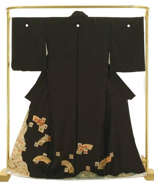 正絹友禅黒留袖 百人一首地紙文 結婚式 卒業式 フォーマル 和装 着物