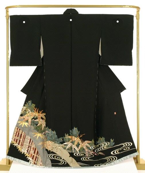 手描友禅黒留袖 松竹瑞祥文 結婚式 卒業式 フォーマル 和装 着物