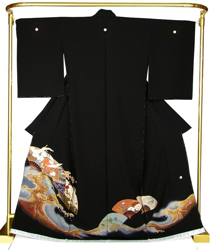 正絹京友禅黒留袖 琳派・扇面に飛び鶴 結婚式 卒業式 フォーマル 和装 着物