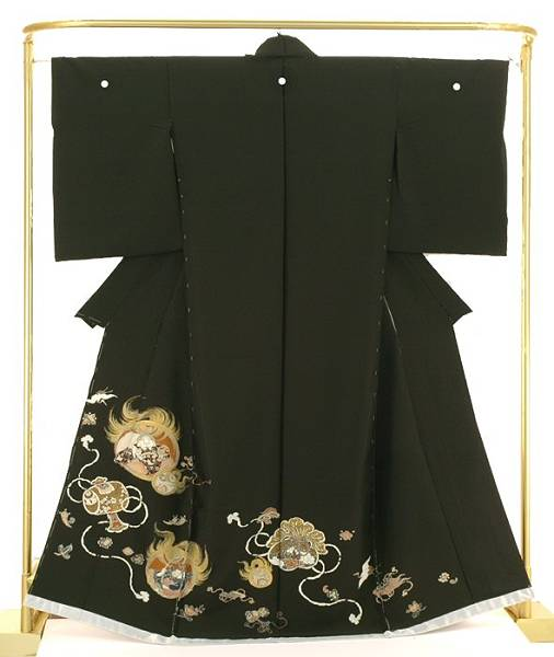 正絹手描黒留袖 吉祥招福文 結婚式 卒業式 フォーマル 和装 着物