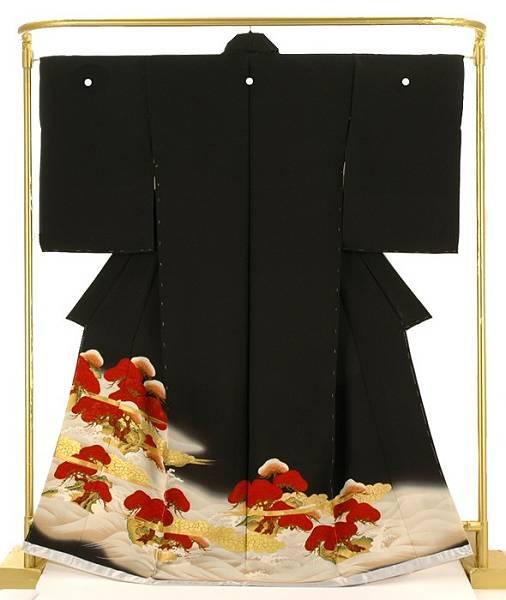 正絹黒留袖 波に老松 結婚式 卒業式 フォーマル 和装 着物