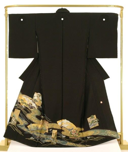 正絹友禅黒留袖 琳派扇面色紙文 結婚式 卒業式 フォーマル 和装 着物