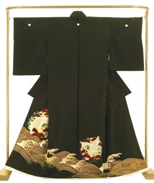 正絹友禅黒留袖 立波に老松鶴文 結婚式 卒業式 フォーマル 和装 着物