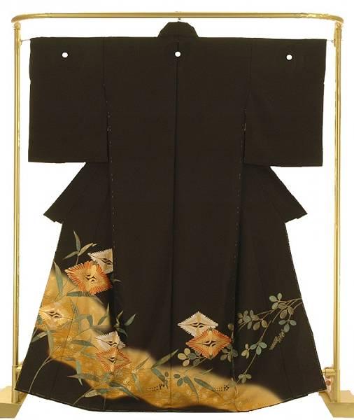 正絹友禅黒留袖 吉兆金彩鶴菱文 結婚式 卒業式 フォーマル 和装 着物