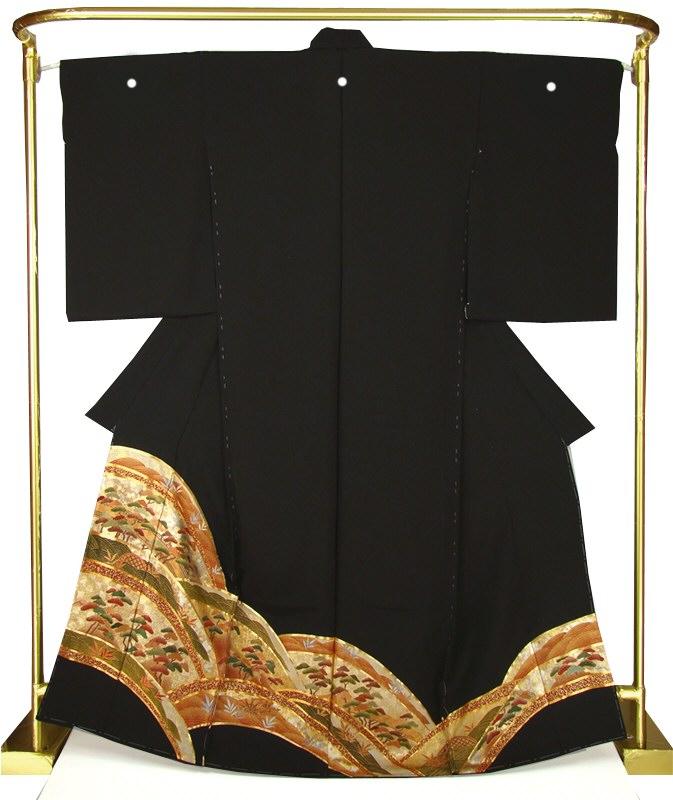 正絹刺繍黒留袖 松波 結婚式 卒業式 フォーマル 和装 着物
