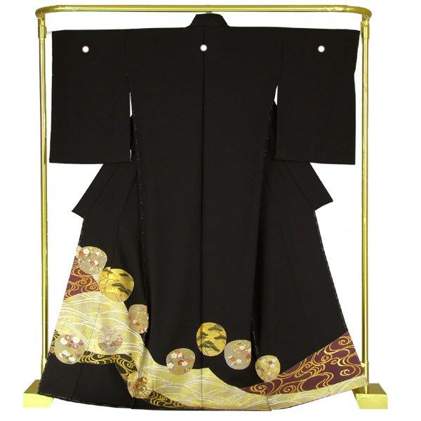 正絹 友禅黒留袖 光琳波に四季花文 結婚式 卒業式 フォーマル 和装 着物