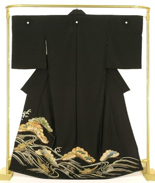 正絹友禅黒留袖 松取り王朝文 結婚式 卒業式 フォーマル 和装 着物