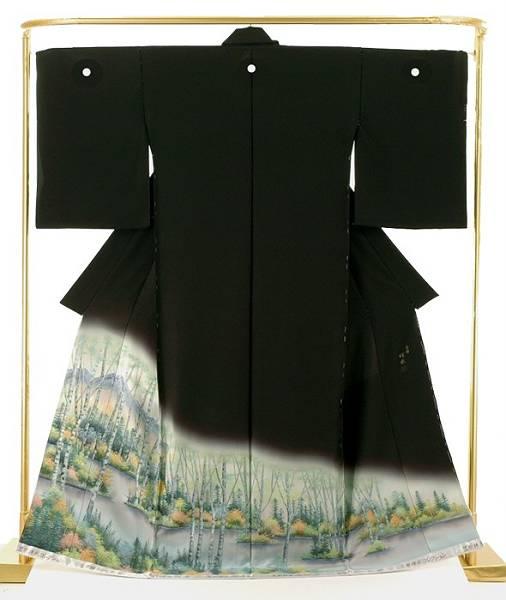 正絹蝋彩染黒留袖 白樺 笠原祥永 作 結婚式 卒業式 フォーマル 和装 着物