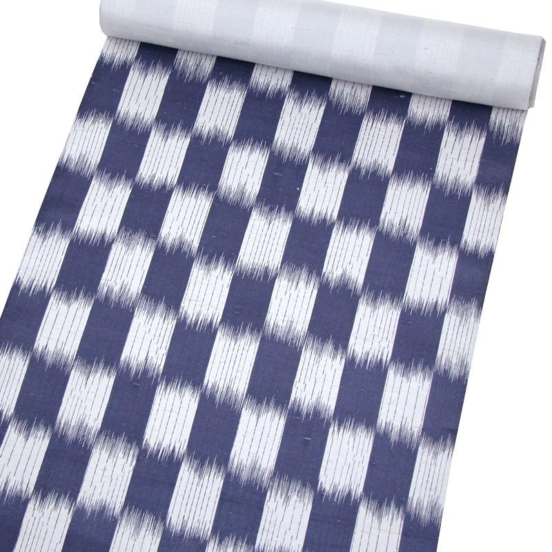 白山工房手織り牛首紬九寸名古屋帯 絣縞・グレー地/鉄紺