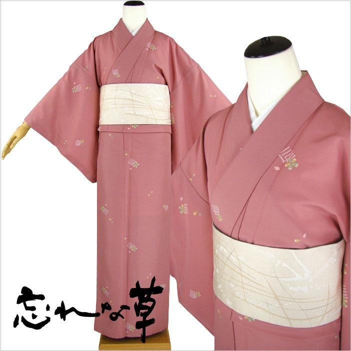 忘れな草 仕立てあがり 洗える袷着物単品 源氏香に桜
