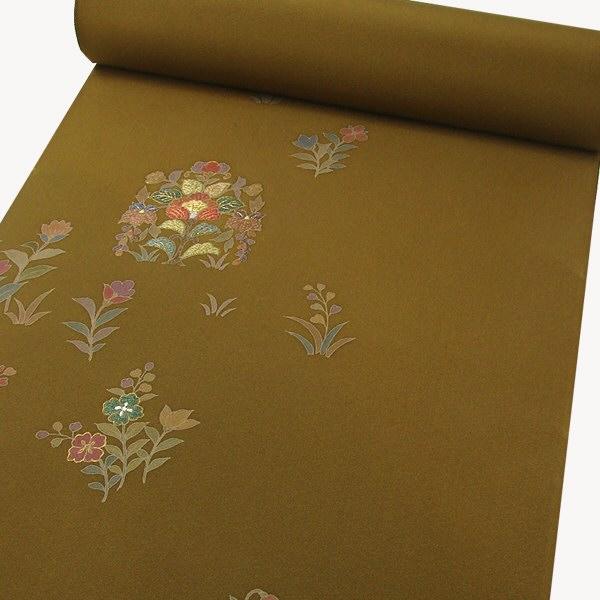 正絹手描刺繍附下 印度藍染 更紗