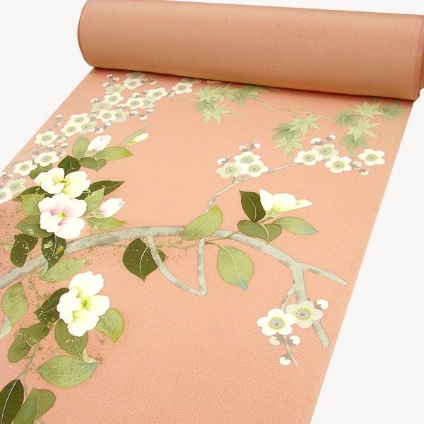 正絹手描附下 梅に椿