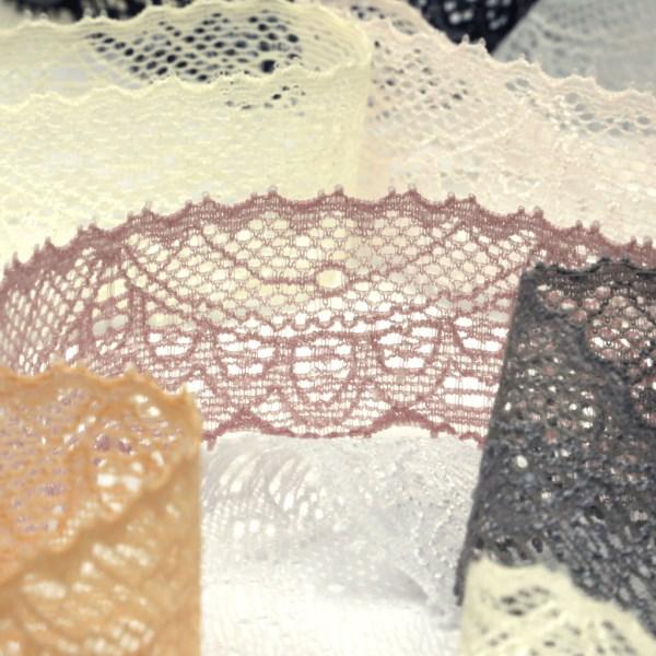 防縮加工の施された 仕上がりが薄く平らなラッセルレース SIC ストレッチトリミングレース 約30mm 服飾 人気 おすすめ SHINDO 気質アップ 手芸 25メートル巻