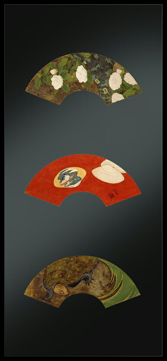 アールプレシ斎藤一蒲筆「扇面貼付屏風」白椿図、貝合せ源氏物語浮舟図、亀図