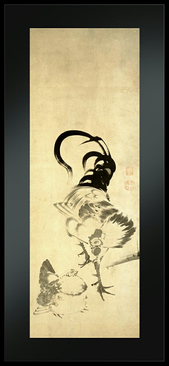 アールプレシ伊藤若冲筆「鶏図押絵貼屏風」1