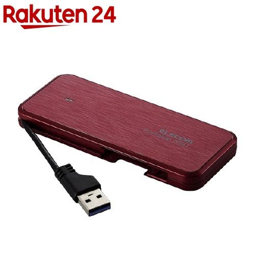 エレコム 外付けSSD ポータブル 1TB USB3.2 薄型 軽量 レッド ESD-EC0960GRDR(1個)