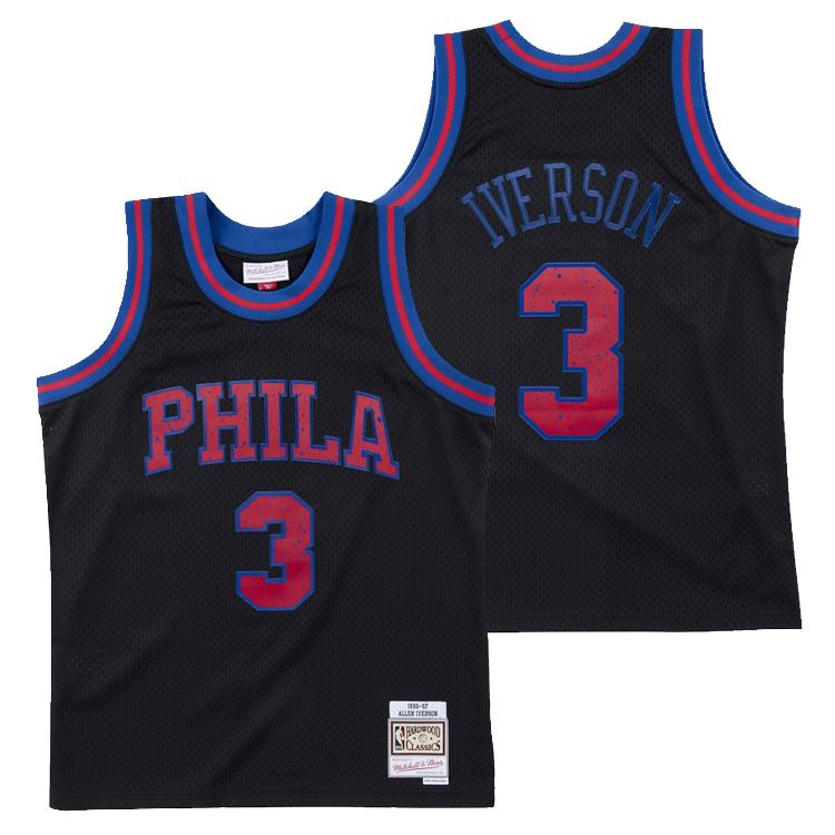 ミッチェル&ネス NBA フィラデルフィア・セブンティシクサーズ アレン・アイバーソン 1996-97 BLACKOUT POP スウィングマン ジャージー ブラック ユニフォーム / Mitchell & Ness Philadelphia 76ers Allen Iverson Blacout pop Swingman Jersey Black